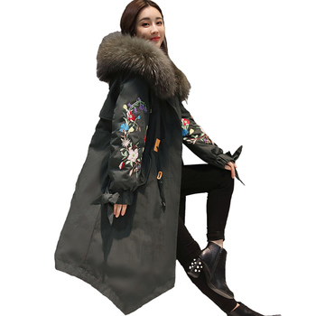 Cotton coat female 2018 new embroidery winter jacket women hooded fur collar cotton parka long big size women jacket female coat
