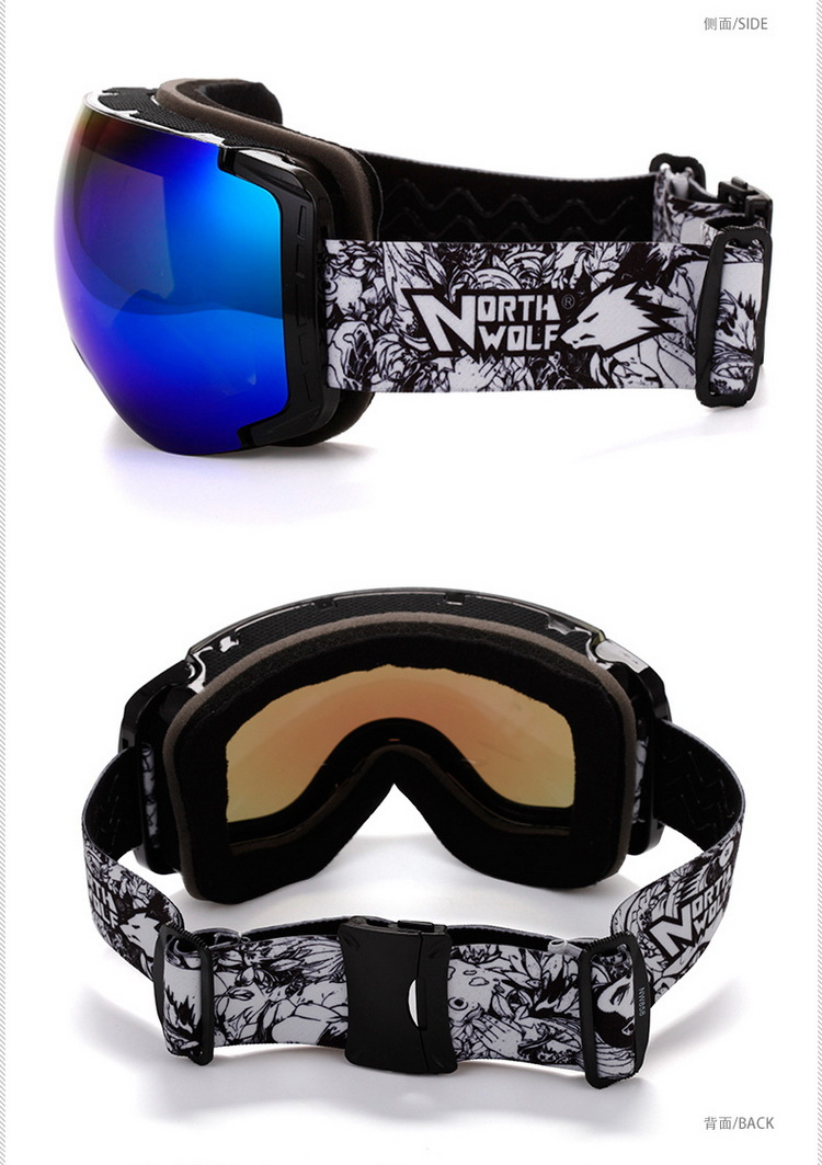 c717b3fb4674 2017 New North Wolf 858 brand Professional Best Ski Goggles Men and Women  Double lens antifog UV 400 Snowboard Goggles-in Skiing Eyewear from Sports  ...