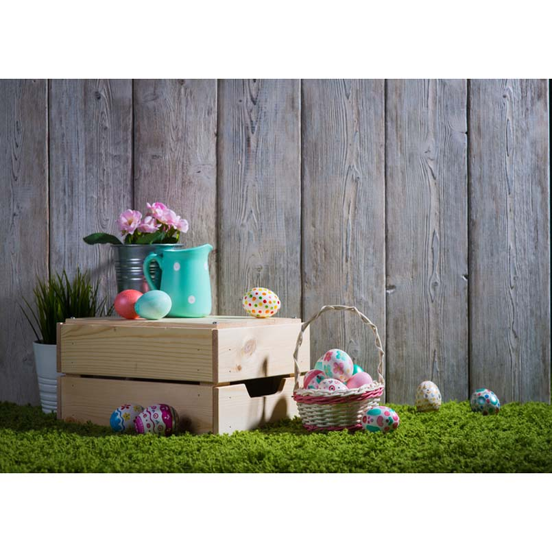 7x5FT Happy Easter Eggs Wood Planks Wall Basket Green ...