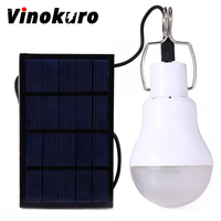 Vinokuro Useful Energy Conservation 15W 130LM Portable Led Tent Bulb Light Charged Solar Energy Lamp Home
