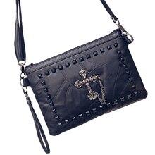 Genuine Sheepskin Leather Patchwork Women's Day Clutches Fashion Designer Shoulder Bag Female Rivet Handbag Messenger Bag