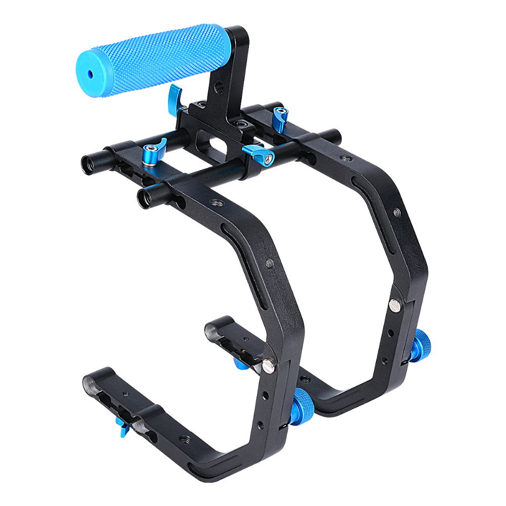 Dual C Shape professional Bracket support system with 1/4'' Screw 15mm rod & Top Handle for Video DSLR Camera Camcorder