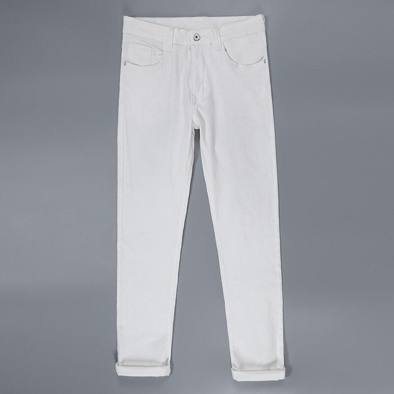 2019 New Fashion Men Jeans Slim Fit Elastic Pencil Pants White Color Cotton Brand Classical Jeans Men Straight Jeans