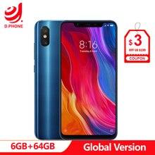 Глобальная версия Xiaomi mi 8 6 Гб 64 Гб 6,21 «полный экран Snapdragon 845 Восьмиядерный 20 МП фронтальная камера разблокировка лица NFC mi 8 смартфон