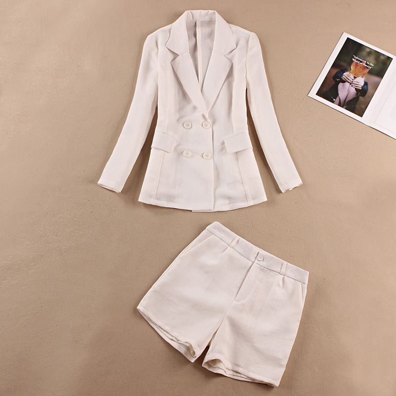 Womens trouser suit High quality casual long sleeve blazer Pants white office 2019 new womens clothing