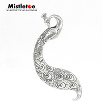 Mistletoe Genuine 925 Sterling Silver Enchanted Peacock Pendant Charm Fit European Toll 3.0mm Jewelry Without Necklace