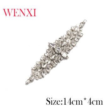 WENXI 30PCS Wholesale Luxury Rhinestones Appliques For Wedding Dress Waistband Rose Gold Clear Crystal  Accessory WX855