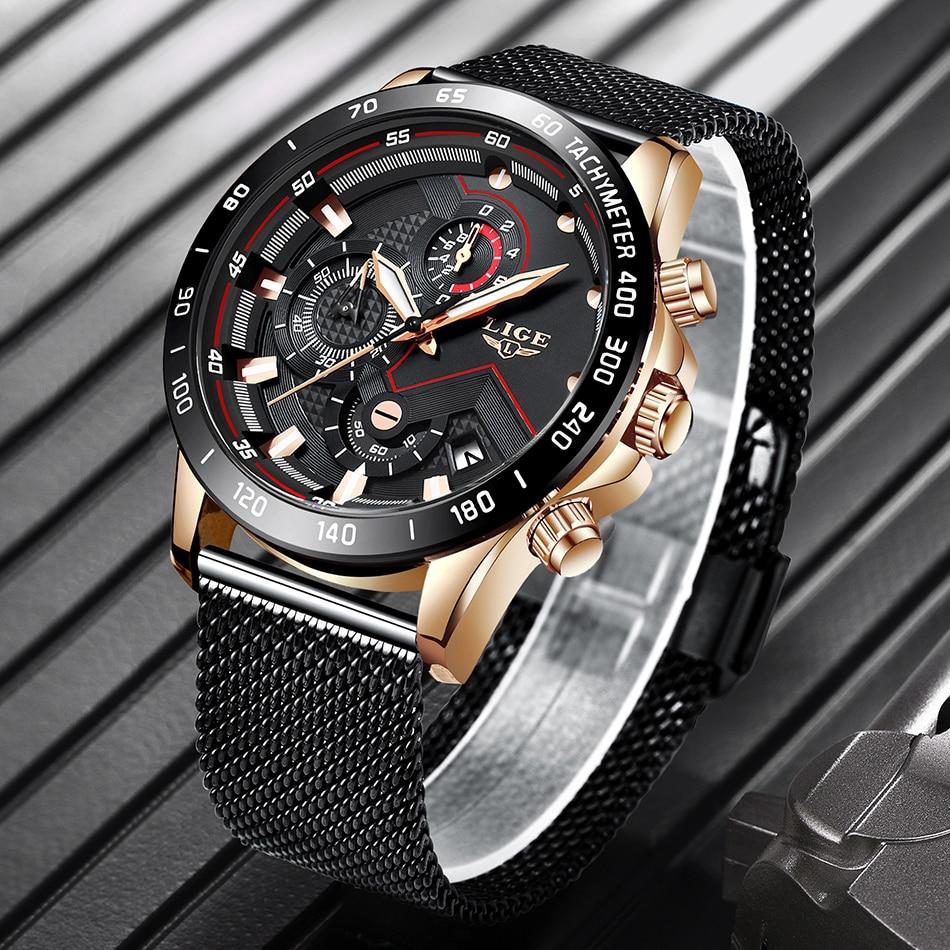 HTB1IGU1OhTpK1RjSZFMq6zG VXaK LIGE Men Watches Top Brand Luxury Stainless Steel Blue Waterproof Quartz Watch Men Fashion Chronograph Male Sport Military Watch