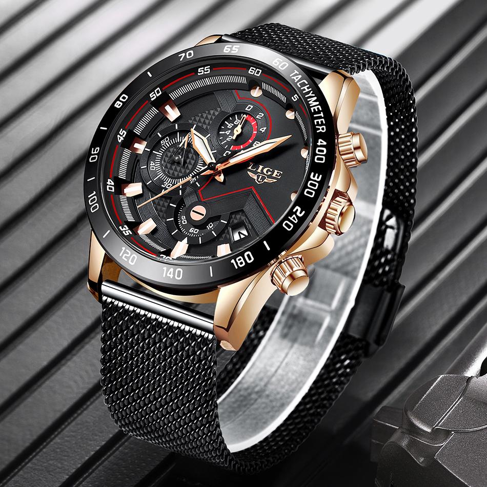 LIGE azul Casual malla Correa moda cuarzo oro reloj para hombre relojes marca superior reloj impermeable de lujo 14
