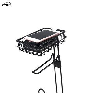 Image 5 - 독립 구조로 서있는 금속 와이어 화장지 롤 홀더 핸드폰 욕실 스토리지 조직에 대한 스토리지 선반과 스탠드 및 디스펜서
