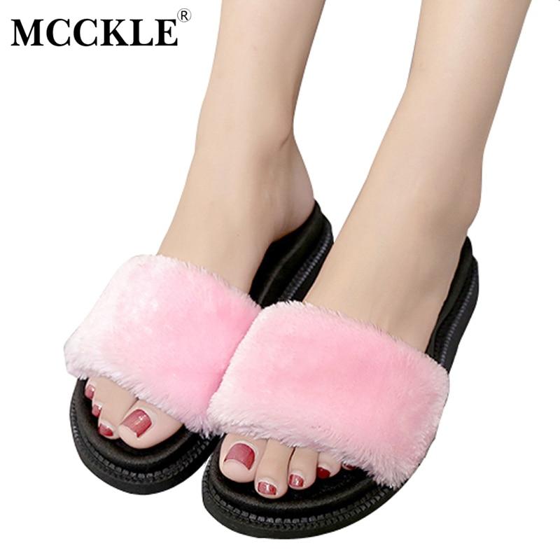 MCCKLE Women's Slip On Suede Cotton Plush Furry Comfortable Flat Winter Plus Sale Shoes Ladies Short Plush Fur Home Slippers
