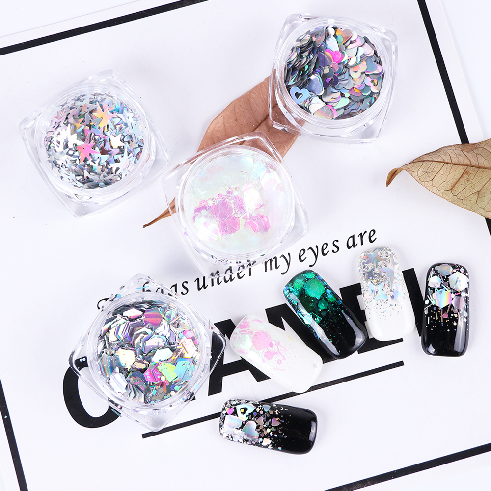 1 Bottle Mixed Laser Colorful Sequins Nail Glitter Thin Metal Hexagon Star Heart Flakes Nail art Manicure Decor LALH01-04 (7)