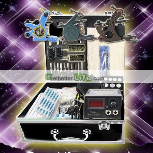 Eua despacho Kit Tattoo profissional 3 máquinas armas fontes de alimentação de agulhas Set equipamentos suprimentos