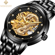 WISHDOIT Luxury Dragon Golden Mechanical Automatic Wristwatches Stainless Steel Mens Watches Waterproof Clock Relogio Masculino