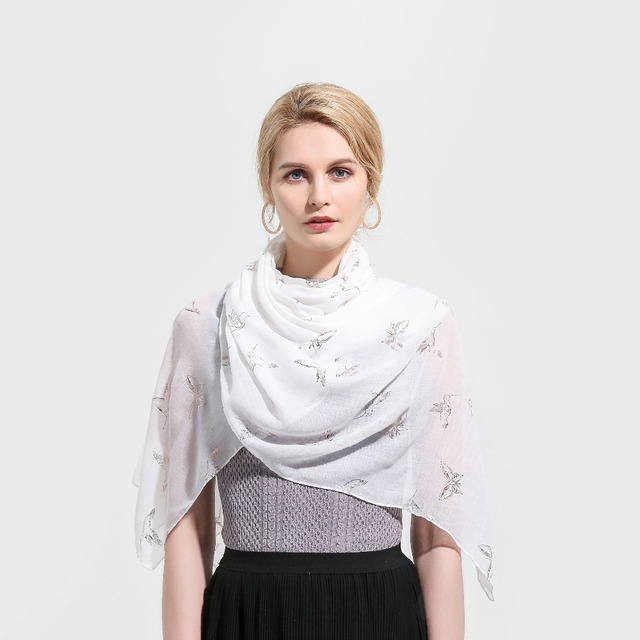 8cc845b452a Winfox Blanc Oiseau Papillon Rose Feuille D or Imprimer Glitter Écharpes  Wrap Châle Foulards Hijab