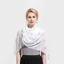 Winfox White Bird Butterfly Rose Gold Foil Print Glitter Scarfs Wrap Shawl Scarves Hijab For Ladies Womens