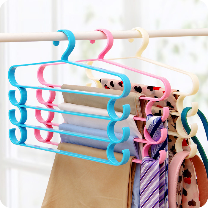 Four Layer Multi Functional Pants Rack Wardrobe Hanger Tie Belt Frame Scarf Multi-layer Plastic
