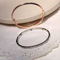 Fashion High quality White Gold Rose Gold Three Tone Plated Clear Zircon Elegant Charming Womens Bangle Bracelet