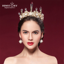 Himstory Luxurious  Big Gold Flower Tiaras Crown Handmade Baroque Crystal Headband Queen Wedding Hair Accessories