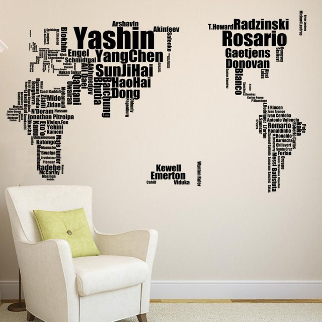 Character large world football soccer star map wall stickers original zooyoo creative letters map wall art