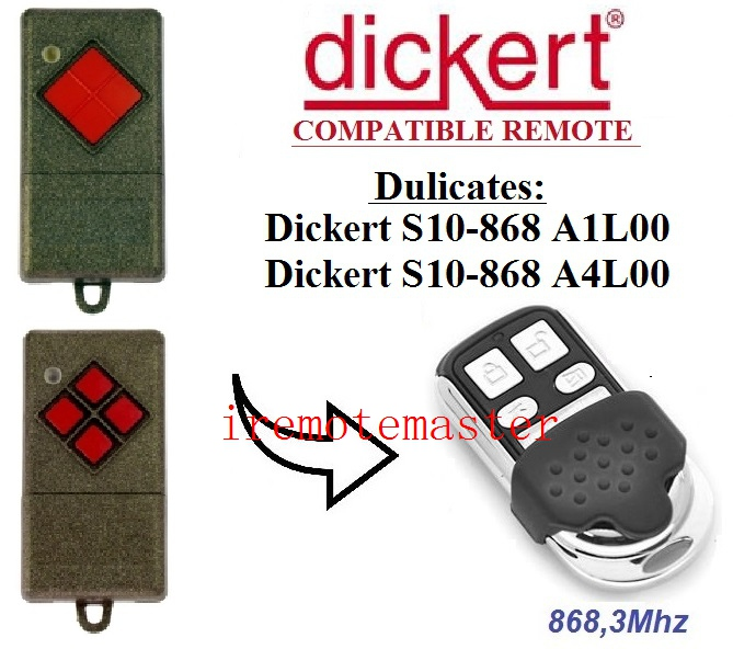 868.3MHz aftermaket replacement remote for Dickert S10 A1L00, S10 A4L00 DHL free shipping