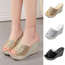 90eef4939 Summer Girls Slipper Bottom Casual Slippers Shoes Women Fashion Sexy Bling Wedges  High Heel Round Toe