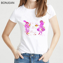 New arrival 2019 whatercolor pink Alice and White Rabbit print t shirt women white casual tshirts femme korean style t-shirt