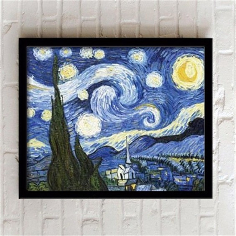 Van gogh framed modern decoration painting living room art for Canvas mural painting