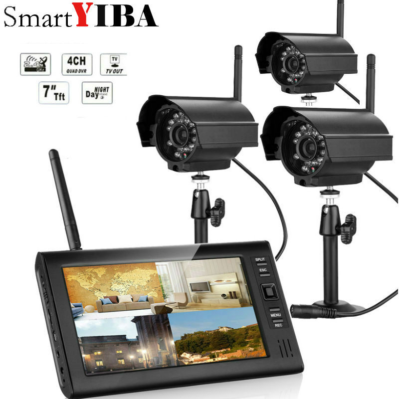 7 inch TFT Digital 2.4G Wireless Cameras Audio Video Baby Monitors 4CH Quad DVR Security System With IR night light 3 Camera