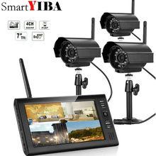 Дюймов 7 дюймов TFT цифровой 2.4g беспроводное устройство камера s Аудио Видео Радионяни 4CH Quad DVR безопасности системы с ИК ночник 3