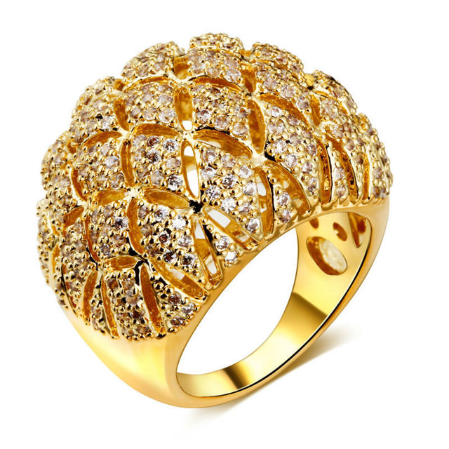 DC1989 Women Party Cocktail Rings Dome Shape Pierced 21 mm Wide Rhodium or Gold Plated Synthetic Cubic Zirconia Paved Lead Free