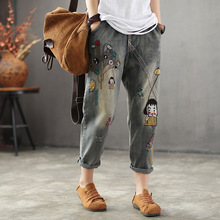 Woman Plus Size Vintage Jeans Spring Autumn Cute Cartoon Girl Embroidered Ripped Denim Pants Casual Harem Street Style