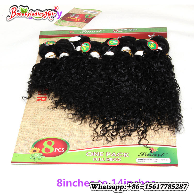 Malaysisk Kinky Curly Short Hair Human Weave 8st fulla Head Jerry - Syntetiskt hår
