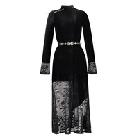 Gothic Maxi Lace Dress Mesh Skull Print Black Women Spring Casual Long Dress Fashion Party Sexy Victorian Spring Patchwork Dress