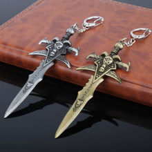 dongsheng WOW Game World of WarCrafts Keychain The Lich King Frostmourne Sword Weapon Dagger Metal Figures Keychain Key Ring -50(China)