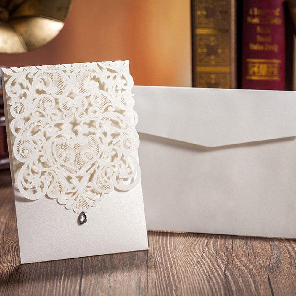 WISHMADE bijelo zlato laserski rez vjenčanja pozivnice Elegantan - Za blagdane i zabave - Foto 3