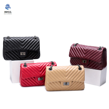 Small Zipper Pouch | 2019 New Women's Bag Luxury Design Rhombic Chain Small Fragrance Bag Genuine Leather Sheepskin Pouch Shoulder Messenger Bag