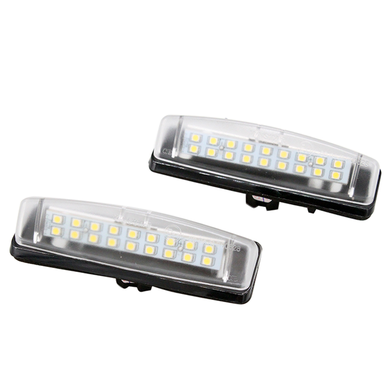 2x Super White 18SMD Error Free LED Number License Plate Light Lamp For Mitsubishi Colt plus Grandis 2x e marked obc error free 24 led white license number plate light lamp for bmw e81 e82 e90 e91 e92 e93 e60 e61 e39 x1 e84
