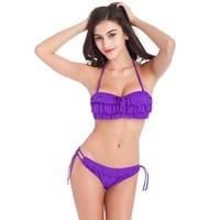 Womens Solod Color Hollow Ruffle Push Up Bikini
