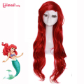 L-email Women Fashion Cosplay Wigs Synthetic Hair Long Wave Brown Red Little Mermaid Ariel Wig Ariel Peruca
