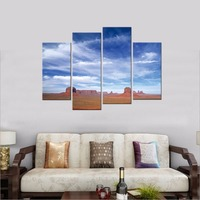 Modern Plain Scenery Giclee Canvas Prints Contemporary Blue Sky Landscape Pictures to Photo Painting on Canvas Wall Art No Frame