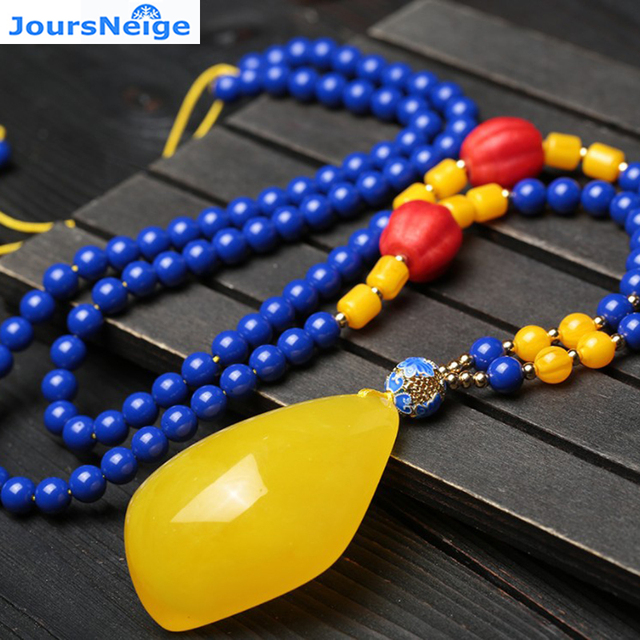 JoursNeige Natural Blue Ore Stone Necklace Yellow Chalcedony Water Drop Pendant Lucky for Women Sweater Chain Jewelry Necklace