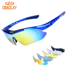 OBAOLAY Men Polarized Outdoor Sports Cycling Glasses Bike Bicycle Cycling Eyewear Sunglasses Mtb Sport Goggles 5 Lens