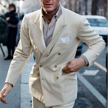 2017 Latest Coat Pant Designs Creamy beige Double Breasted Tuxedo Slim Fit Men Suit 2 Piece Suits Casual Blazer (Jacket+Pants)