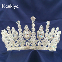 Nankiya Luxury Sliver Rhinestone Zirconia Crowns Wedding Pageant Tiaras Trendy Hairband Ellipse Cz Bridal Crown For Women NT4053