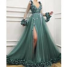 Sexy side slit 3d flor vestido de noite com decote em v pura manga longa a linha vestido de baile bonito vestido de festa longo abendkleider