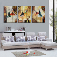 Hand Painted Modern Abstract Home Decoration Ballet Dancer Oil Painting Red Wall Art On Canvas Set