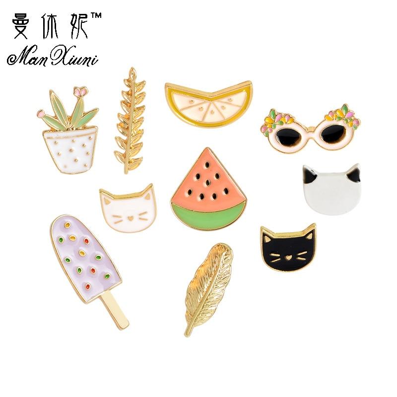 Manxiuni 10pcs/set Cat Watermelon Orange Ice Cream Leaf Sunglasses Plant Brooch Button Pins Denim Jacket Pin Badge Jewelry Gift