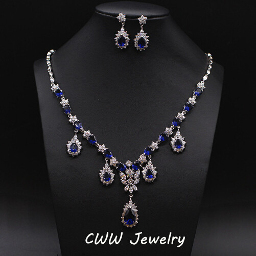 Cwwzircons luxury bridal accessories african royal blue cz for Wedding ring necklace