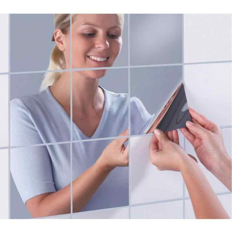 9/16pcs 15CM Square Mirror Paster big Mosaic back glue decorative mirror sticker PET protectiv film stickers